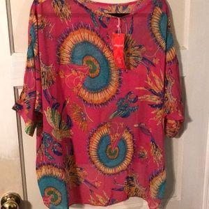 Medium sheer Allegra K shirt in hot pink